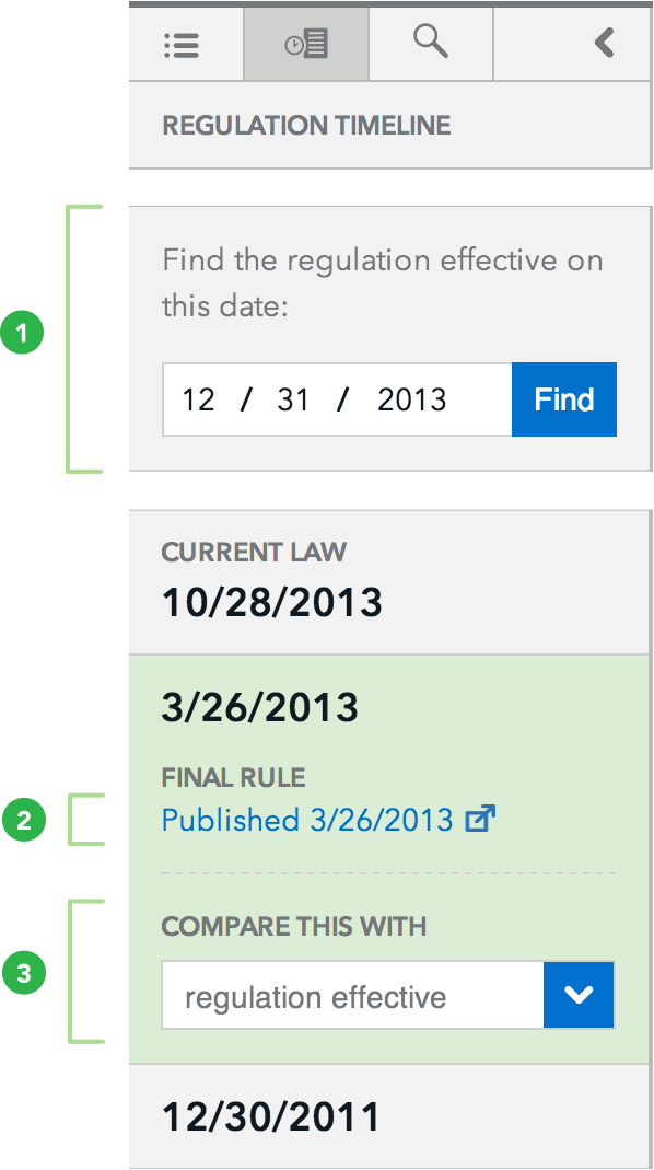 eRegulations timeline navigation screenshot