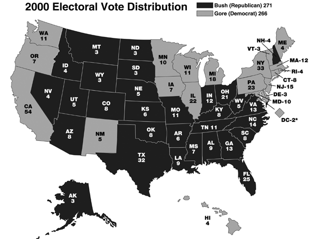 Map of 2000 Electoral Vote Distribution