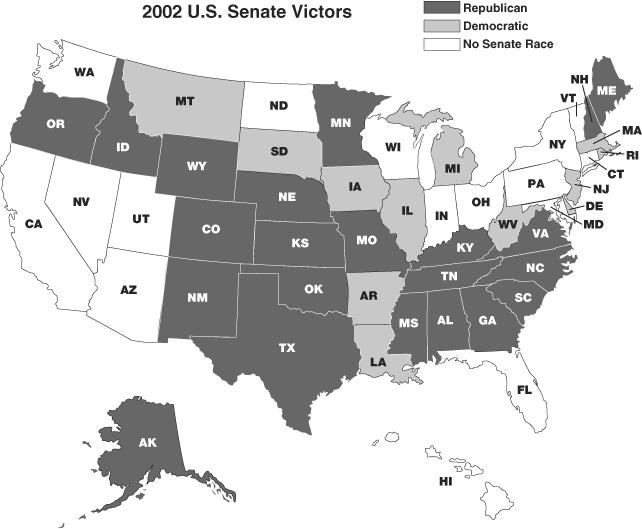 Map showing 2002 Senate Victors