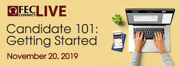 Banner ad for Candidate 101: Getting Started webinar on November 20, 2019
