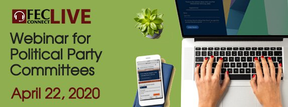 Web banner advertising April 22, 2020 webinar for party committees