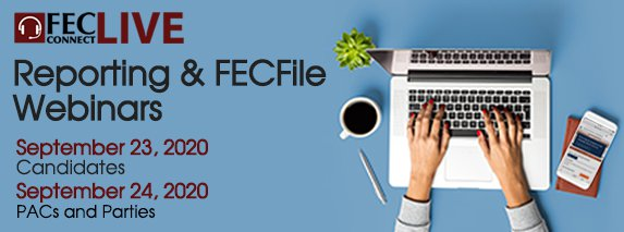 September Reporting and FECFile Webinars Header