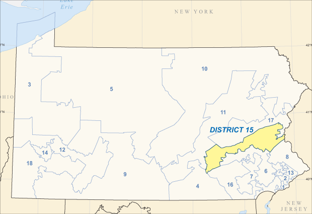 Map of Pennsylvania's 15th congressional district (2018)
