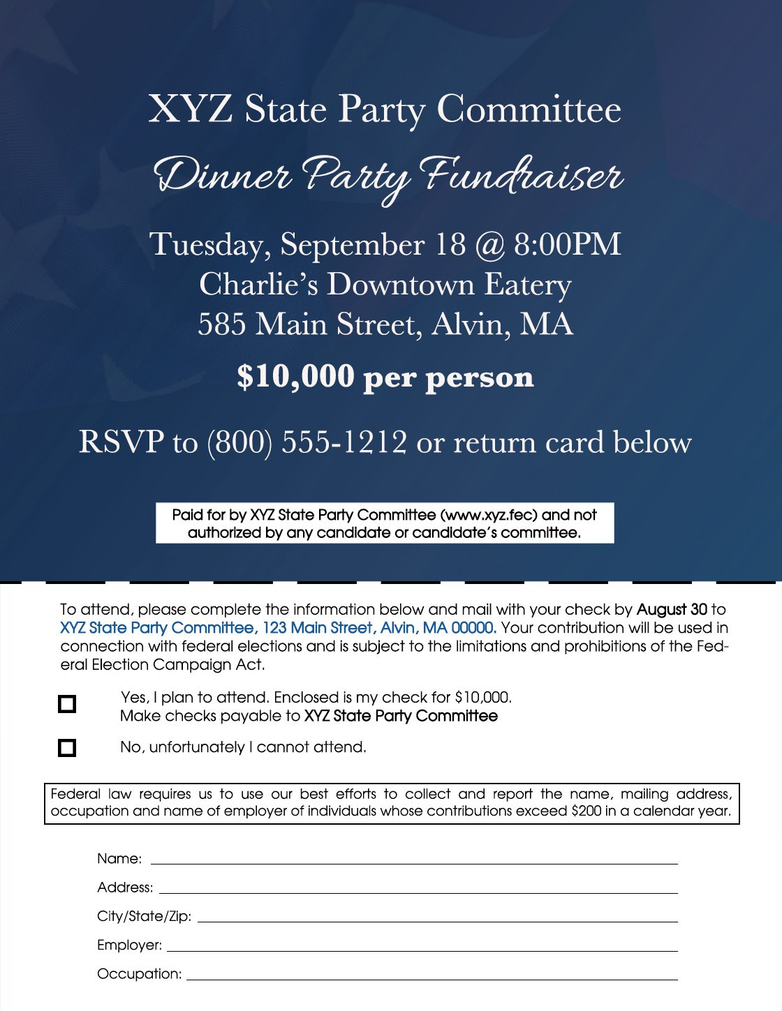 Image of a disclaimer example of a  state party committee's invitation for the party's fundraiser