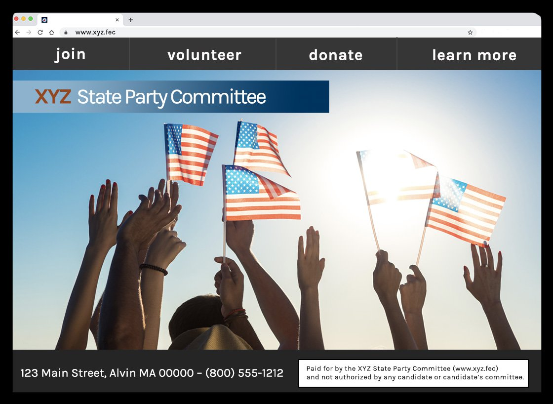 Image of a disclaimer example of a state party committee's website