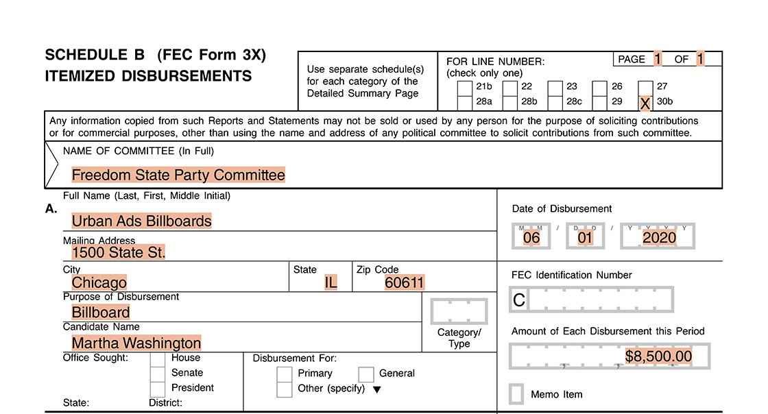 Image of reporting example for a party's non-allocated FEA 01 on the Form 3X Schedule B