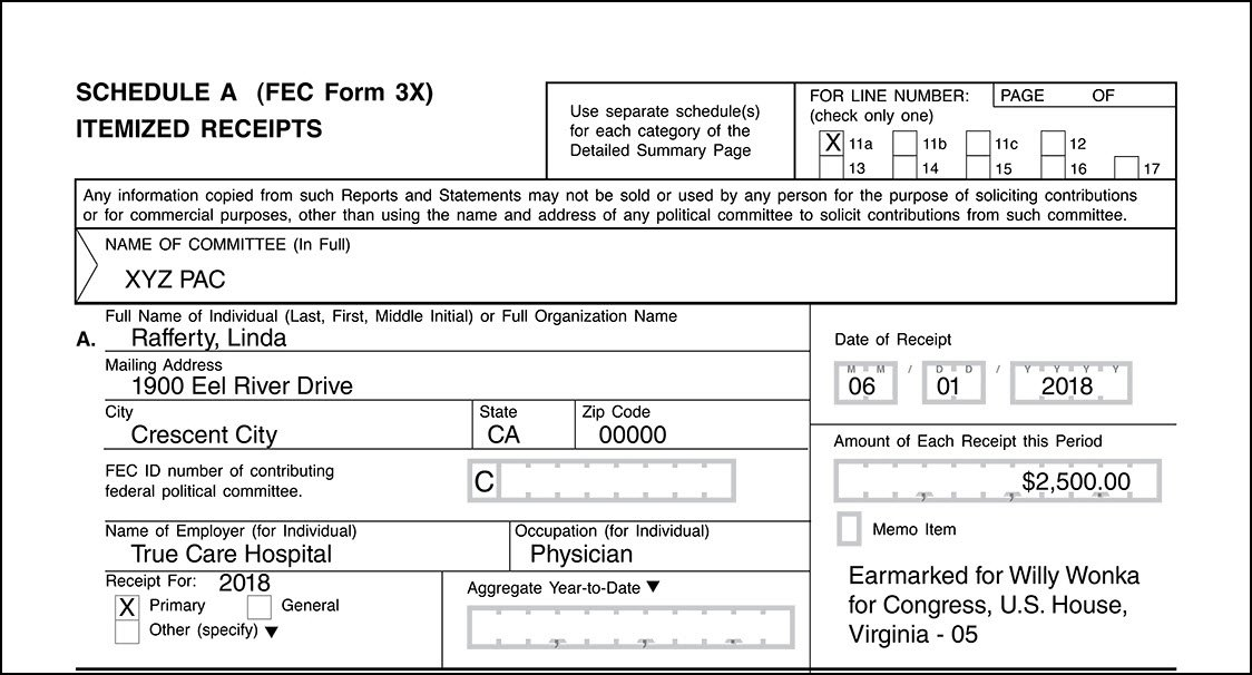 Example of Schedule A, Form 3X for registered committee acting as conduit for earmarked contribution (Record article)
