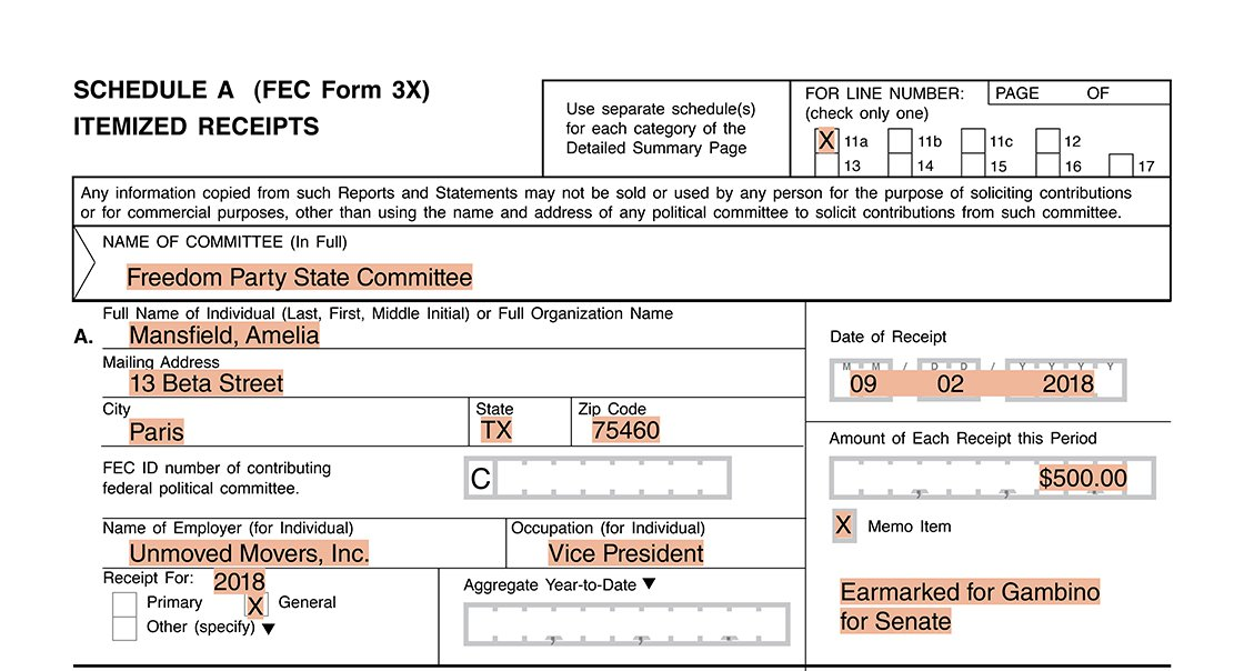 Party committee itemization for an earmarked contribution (undeposited) Form 3X Schedule A