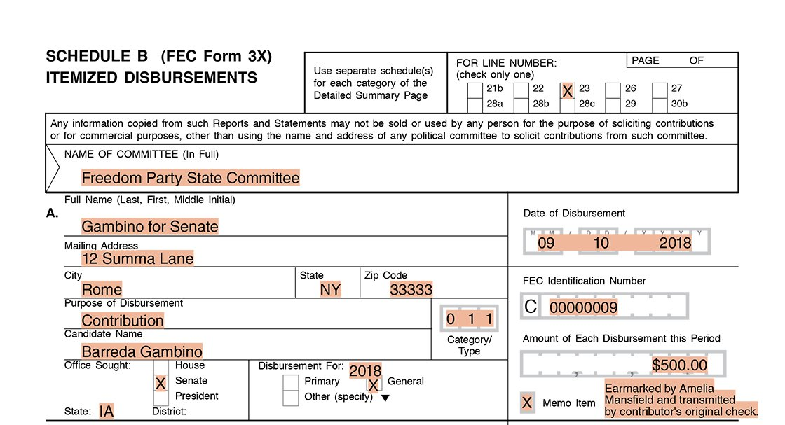 Party committee itemization of an earmarked contribution (undeposited) Form 3X Schedule B