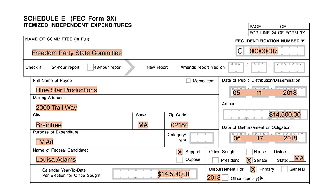 Party committee reporting example payment on Form 3X Schedule E