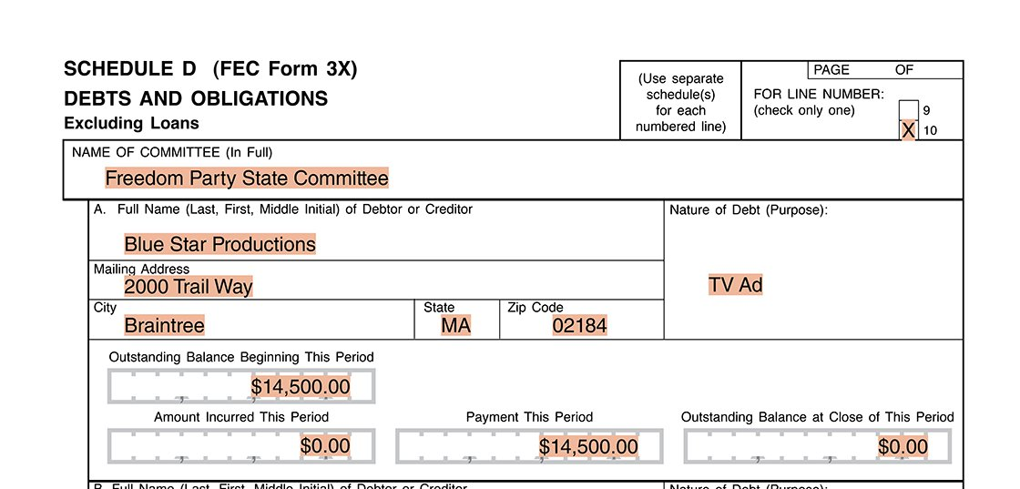 Party committee reporting example first payment on Form 3X Schedule D
