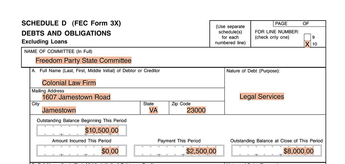 Party committee reporting example of debt payment on Form 3X Schedule D