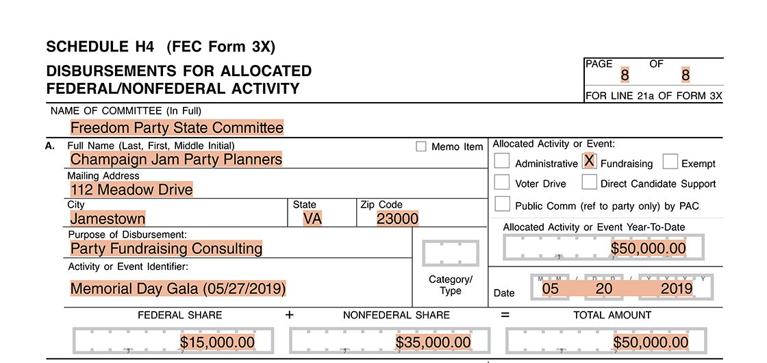 Party committee itemization for party fund allocation on Form 3X Schedule H4
