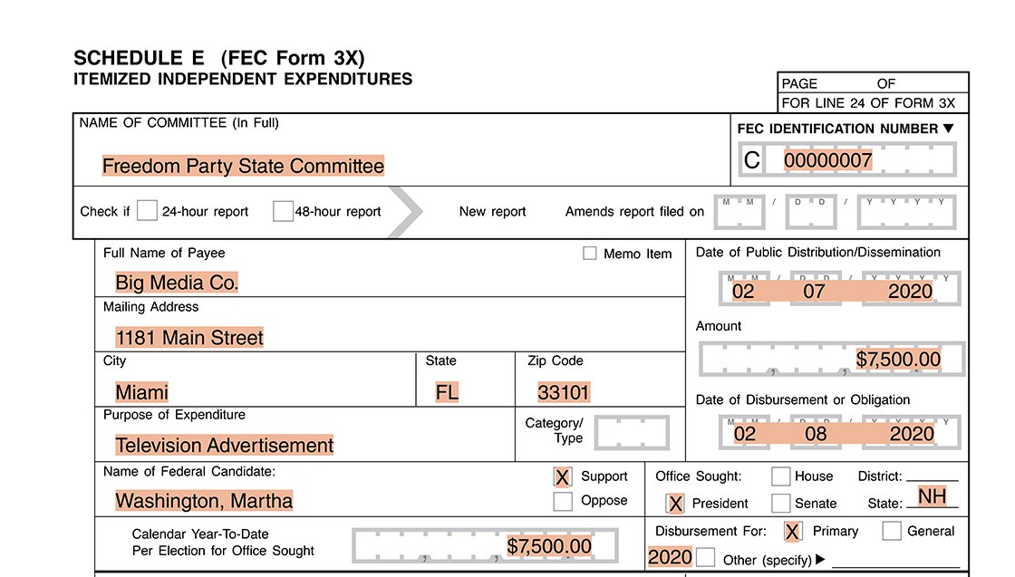 Reporting example for a party committee making multistate IEs using Form 3X Schedule E