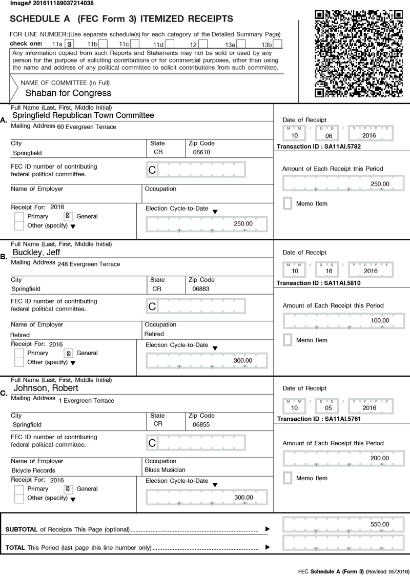 Figure 19. Sample page from Form 3, Schedule A with QR (working) code