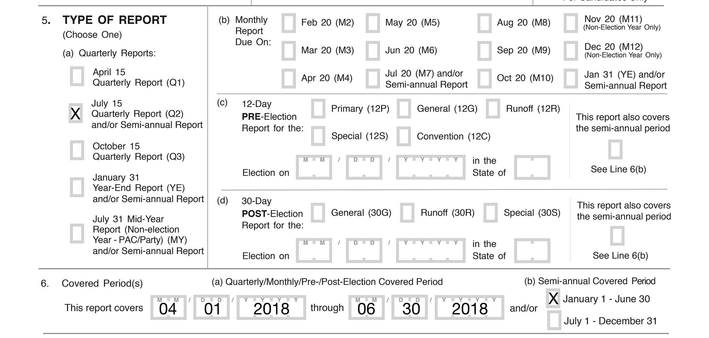Example of FEC Form 3L illustrating how to check a box in line 5 of the summary page to indicate the type of report being submitted and the covering period