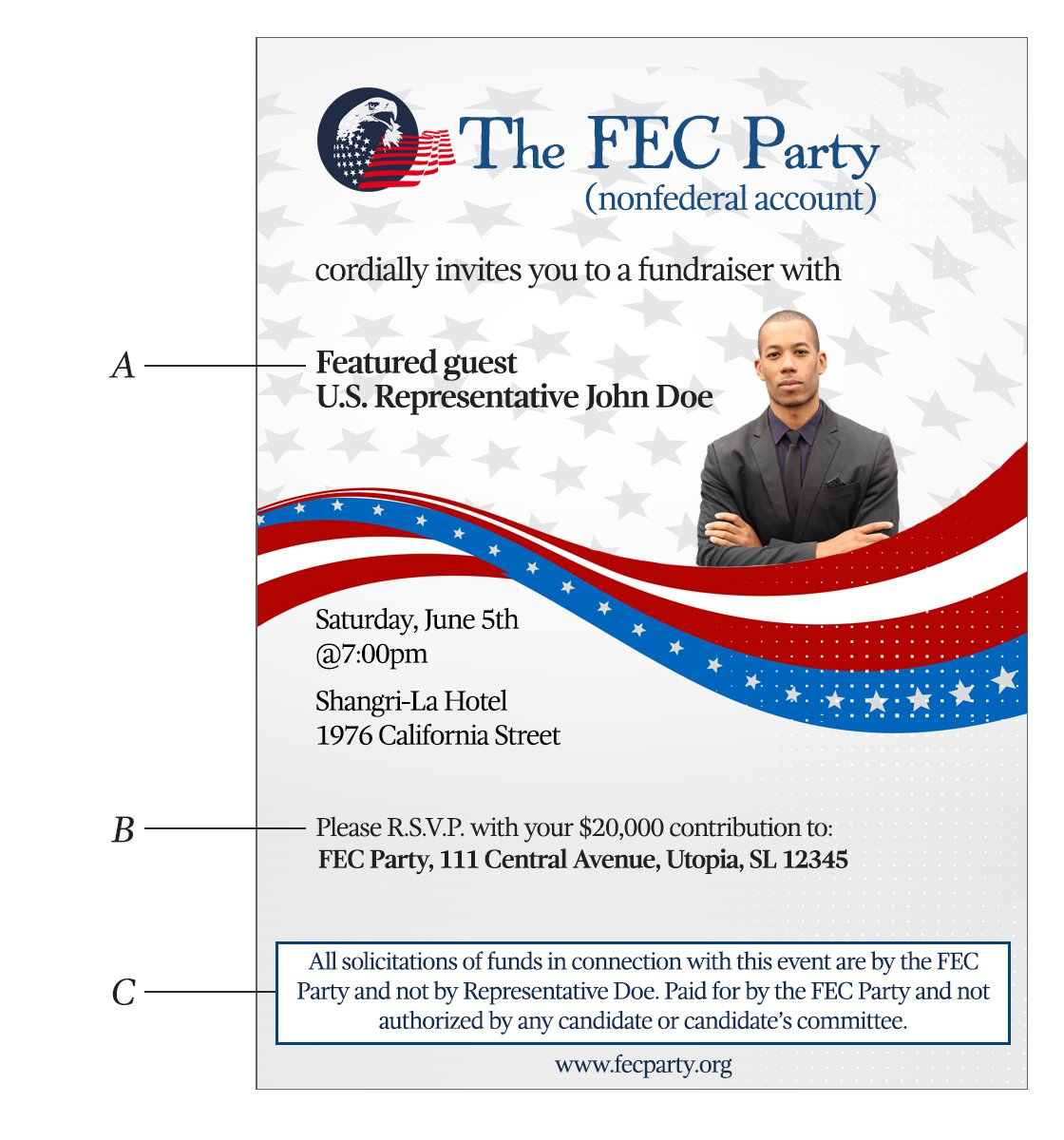 Example 3: Invitation that solicits contributions to the FEC Party's nonfederal account that exceed the federal contribution limits