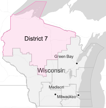 Map showing Wisconsin's 7th congressional district (2020)
